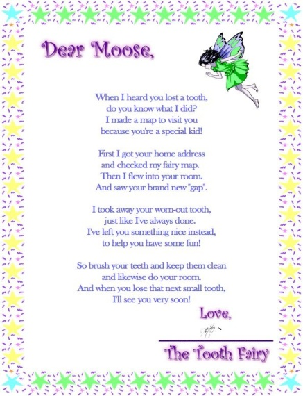 Tooth Fairy Poem To Print
